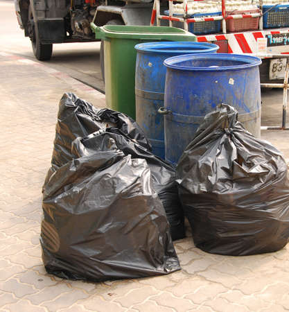 garbage bags on the street Stock Photo