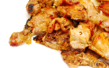 tasty roasted pieces of chicken on white Stock Photo - 9375822