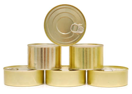 cans isolated on white background photo