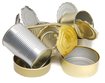 pile of open tin cans isolated on white photo