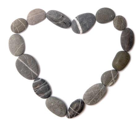 pebble heart on white photo
