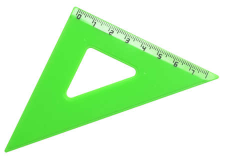triangle plastic ruler isolated on white photo