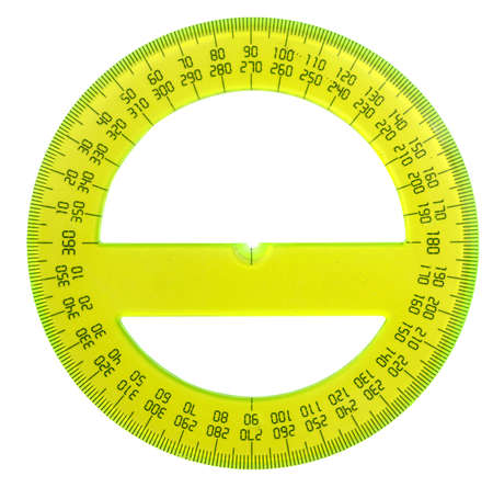 protractor: yellow protractor isolated on white