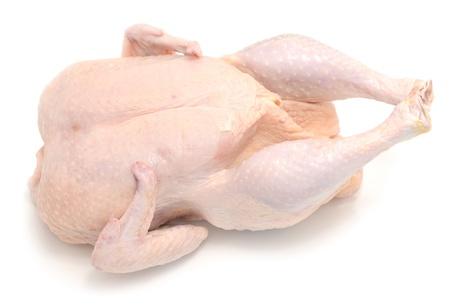 frischem rohem Hühnerfleisch auf weiß