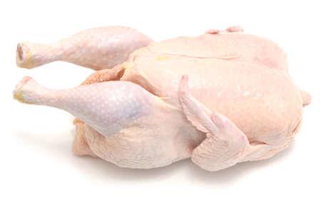 whole chicken: fresh raw chicken on white
