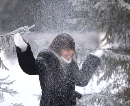 happy woman under snowfall photo