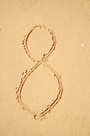 number eight written on the sand photo