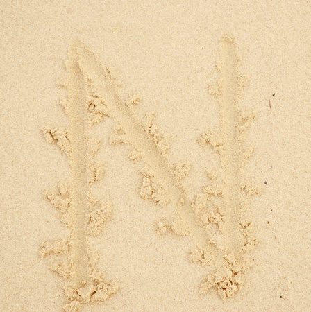 orthography: n letter written in the sand