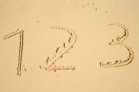 numbers written on the sand photo