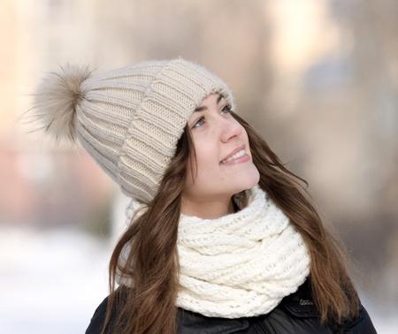 winter portrait of beautiful girl photo