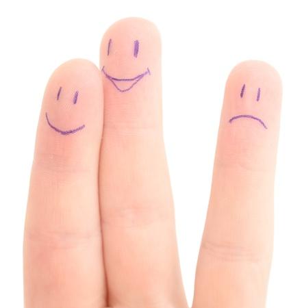 ni�os tristes: dedos compa��a en blanco