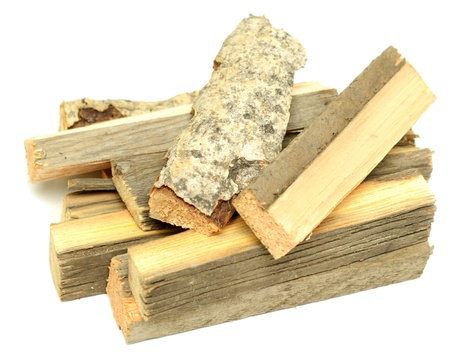 woodpile: stack of firewood on white