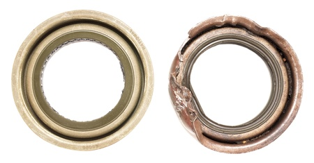 rubber gasket: new and old seals isolated on white