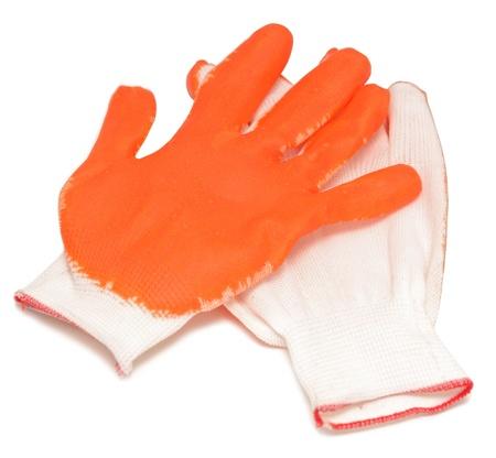 orange new gloves isolated on white photo