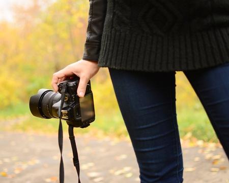 megapixel: digital camera in woman hand Stock Photo