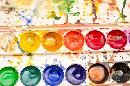close up of color pallet photo