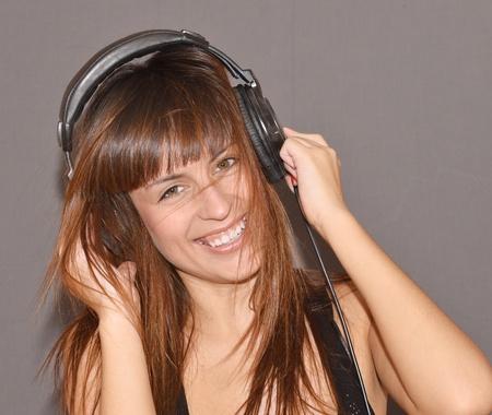 happy smiling woman with headphones photo
