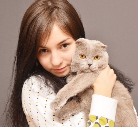 portrait of girl with cat photo