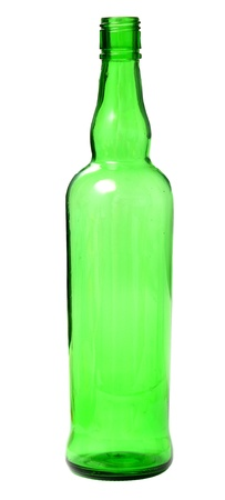 green empty bottle isolated on white photo