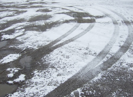 tire tracks in fresh snow Stock Photo - 16515726