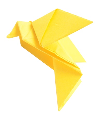 origami yellow bird isolated on white photo