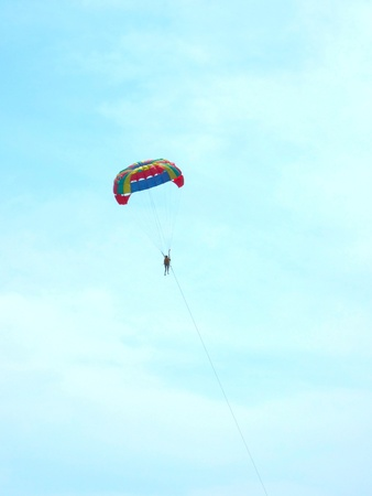 sky diving: parasailing in the blue sky Stock Photo