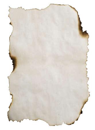 verbranntem Papier isoliert auf weiß