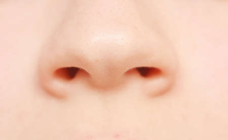 nostril: macro shot of human nose