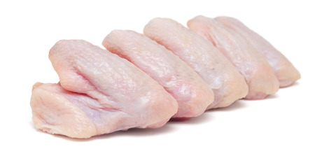 raw chicken wings isolated on white