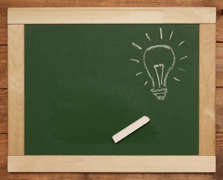 light bulb on chalk board photo