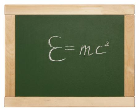 Theory of relativity written on blackboard photo
