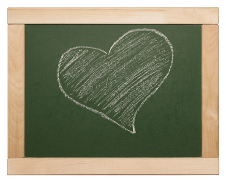heart symbol on a green blackboard photo