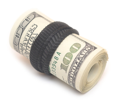 dollar roll isolated on white background photo