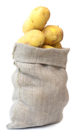 fingerling: potatoes in sack isolated on white background Stock Photo