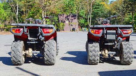 fourwheeldrive: row of ATV in the park Stock Photo