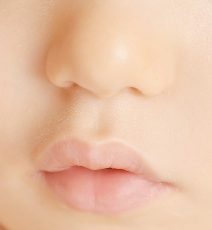 close up of baby face photo