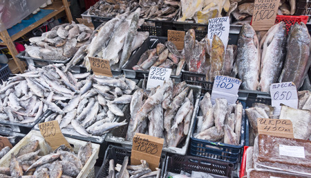 raw fish on a local market photo