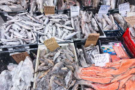 raw frozen fish on a local market photo