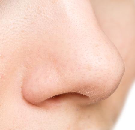 nariz: cerca de la mujer de la nariz Foto de archivo