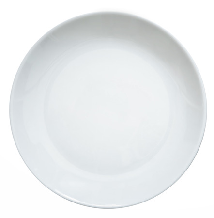 plato de comida: plato vac�o blanco sobre un fondo blanco Foto de archivo