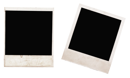 white polaroids: photo frames isolated on white background Stock Photo