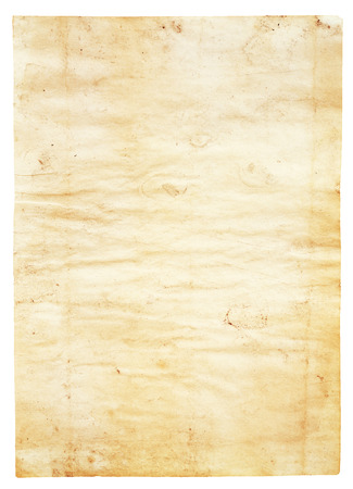 oldened: old dirty paper isolated on white background