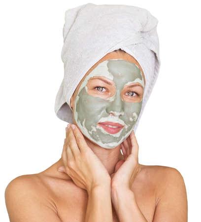 limpieza de cutis: mujer joven belleza que consigue la máscara facial