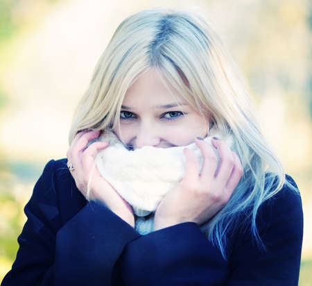 cold day: portrait of a young beautiful woman