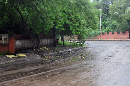 New Delhi street after rains Stock Photo
