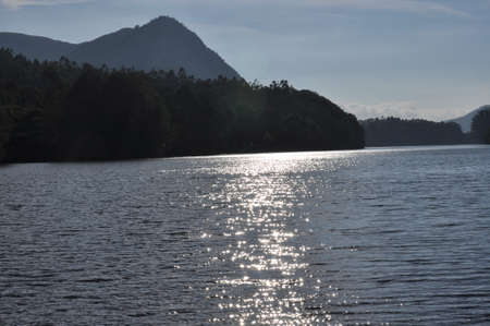 Sunlight reflected off calm waters