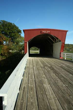 iowa: Picturesque Covered Bridge in Madison County Iowa Stock Photo