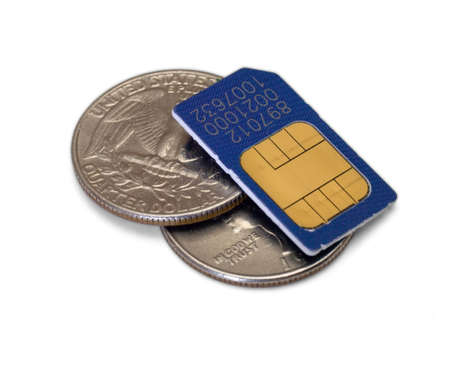 fifty cents and sim-card isolated on white