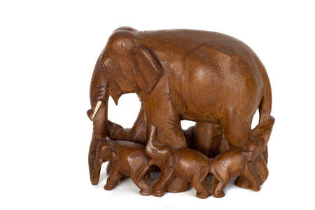 woodcarving: hand-made wood elephant, wood-carving, isolate