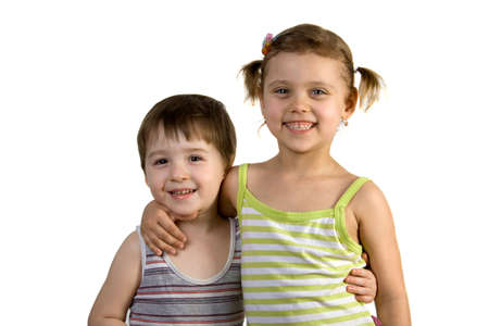 Smiling girl and boy